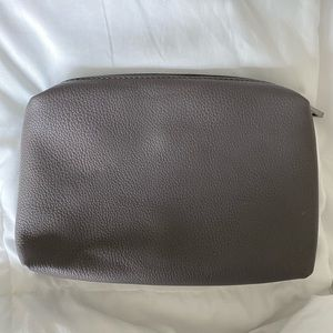 Gray Faux Leather Zip Pouch/Clutch